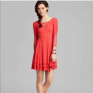 🔴 Free People Lace Cut-Out Vibrant Red Coral